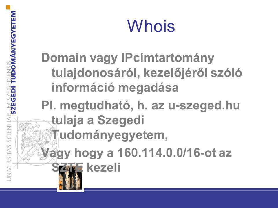 Whois Domain vagy IPcímtartomány tulajdonosáról, kezelőjéről szóló információ megadása.