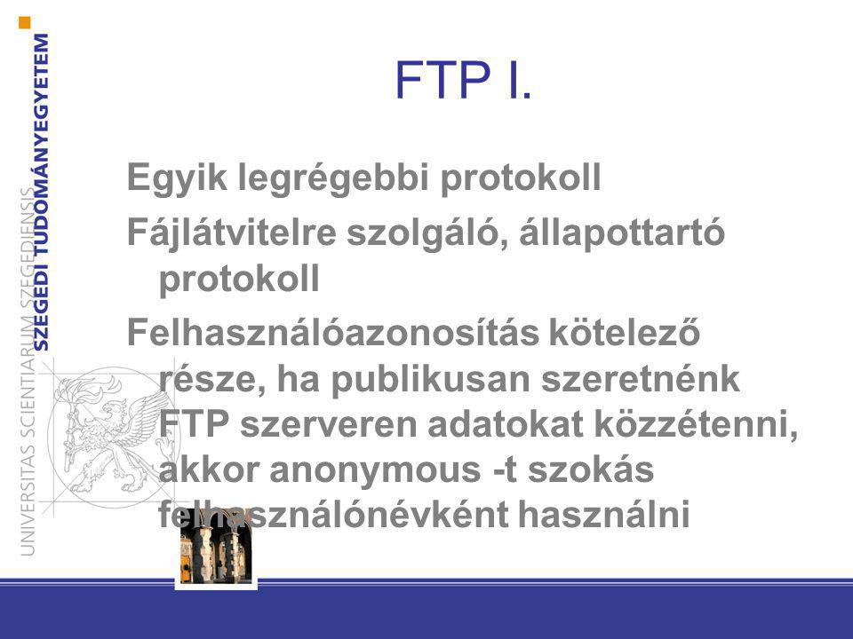 FTP I. Egyik legrégebbi protokoll