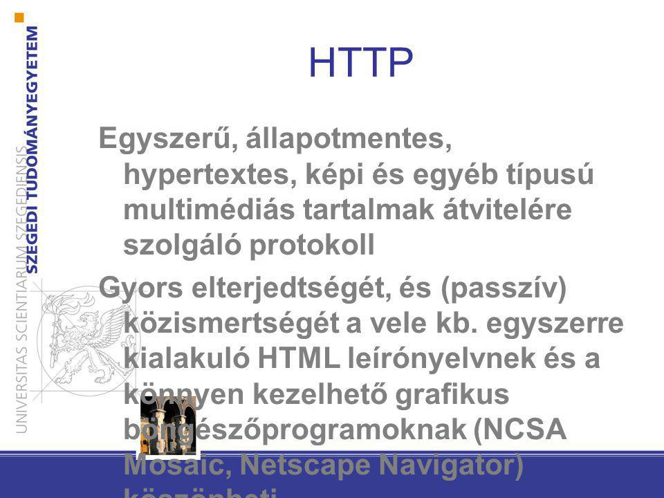 HTTP Egyszerű, állapotmentes, hypertextes, képi és egyéb típusú multimédiás tartalmak átvitelére szolgáló protokoll.