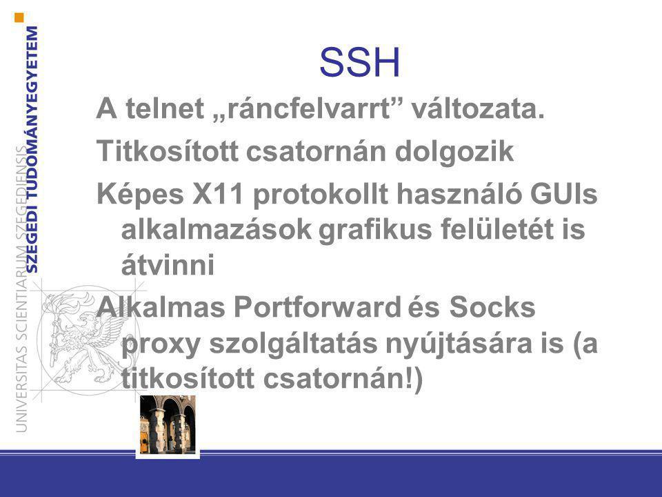 """SSH A telnet """"ráncfelvarrt változata. Titkosított csatornán dolgozik"""
