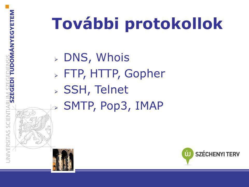 További protokollok DNS, Whois FTP, HTTP, Gopher SSH, Telnet