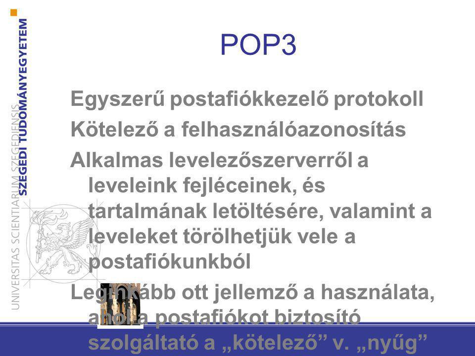 POP3 Egyszerű postafiókkezelő protokoll