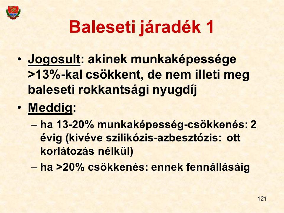 Baleseti járadék 1 Jogosult: akinek munkaképessége >13%-kal csökkent, de nem illeti meg baleseti rokkantsági nyugdíj.