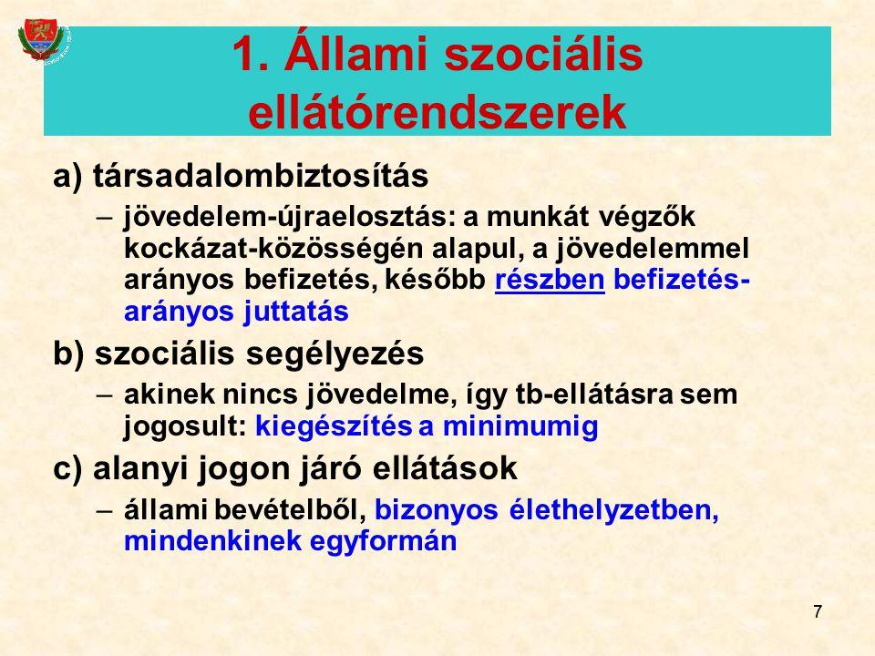1. Állami szociális ellátórendszerek