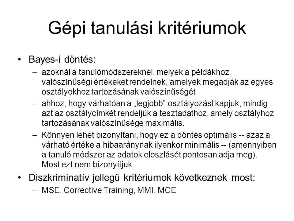 Gépi tanulási kritériumok