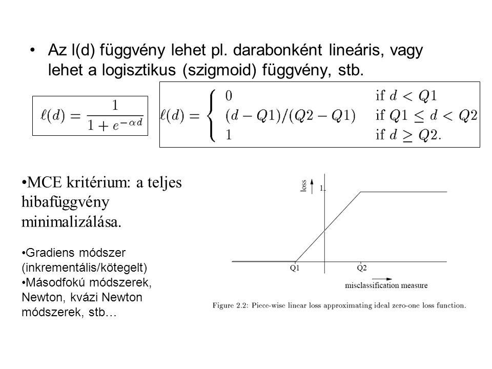 MCE kritérium: a teljes hibafüggvény minimalizálása.