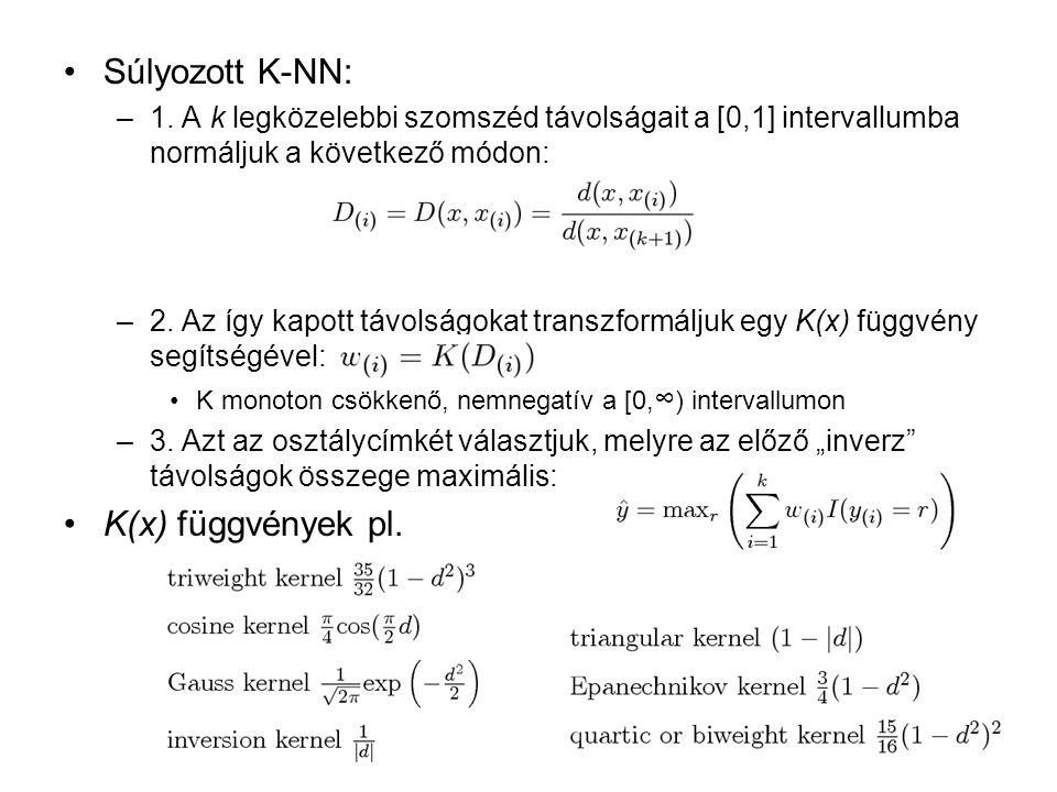 Súlyozott K-NN: K(x) függvények pl.
