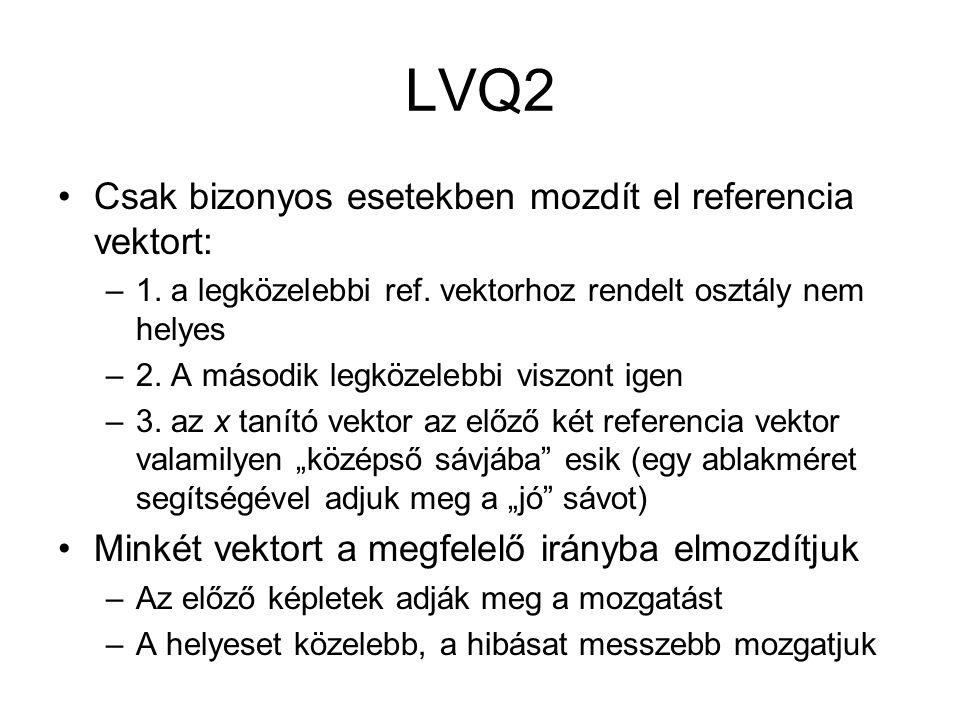 LVQ2 Csak bizonyos esetekben mozdít el referencia vektort: