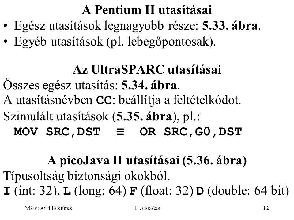 A Pentium II utasításai Egész utasítások legnagyobb része: 5.33. ábra.