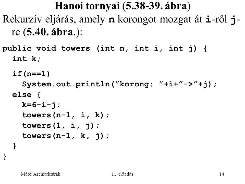 Rekurzív eljárás, amely n korongot mozgat át i-ről j-re (5.40. ábra.):