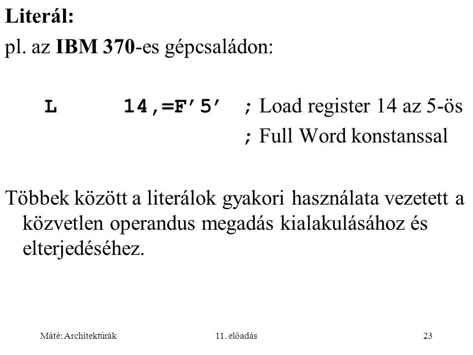pl. az IBM 370-es gépcsaládon: L 14,=F'5' ; Load register 14 az 5-ös