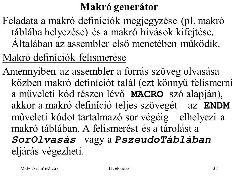 Makró definíciók felismerése