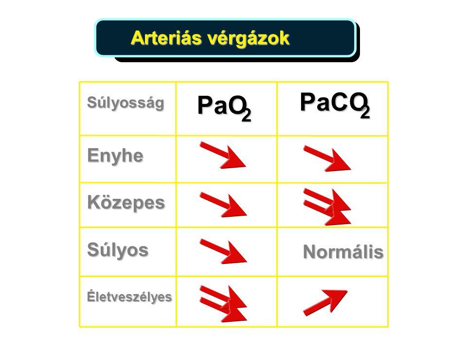 PaCO PaO Arteriás vérgázok 2 2 Enyhe Közepes Súlyos Normális Súlyosság