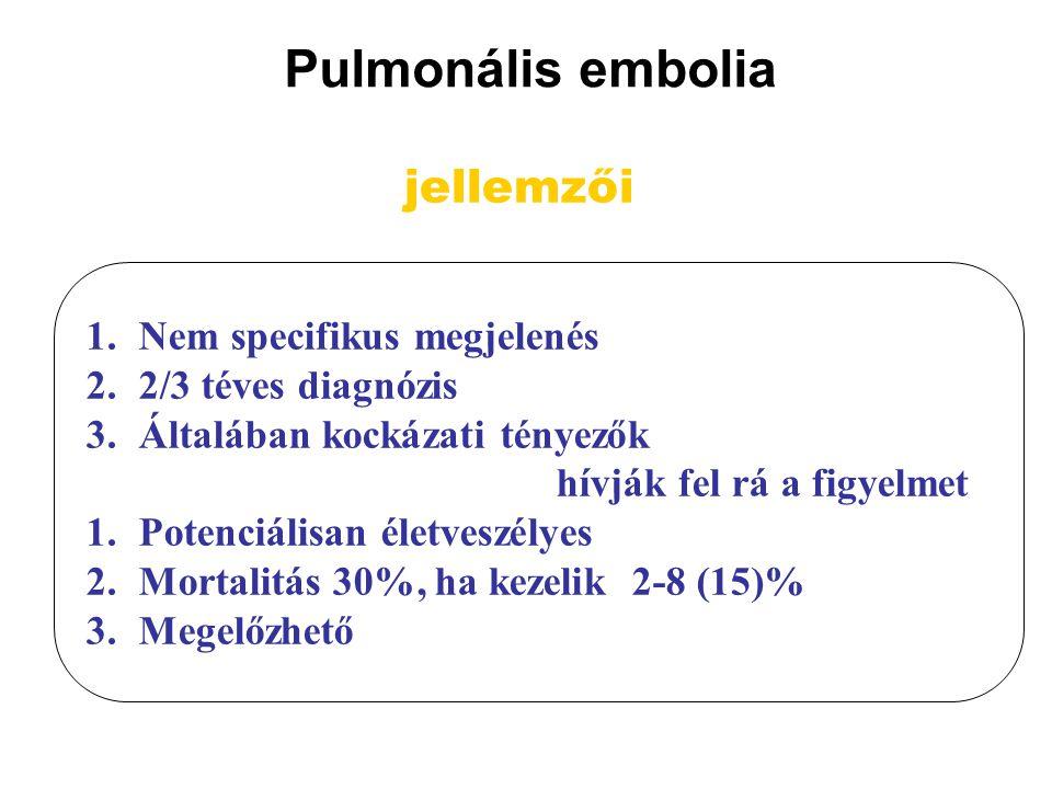Pulmonális embolia jellemzői Nem specifikus megjelenés