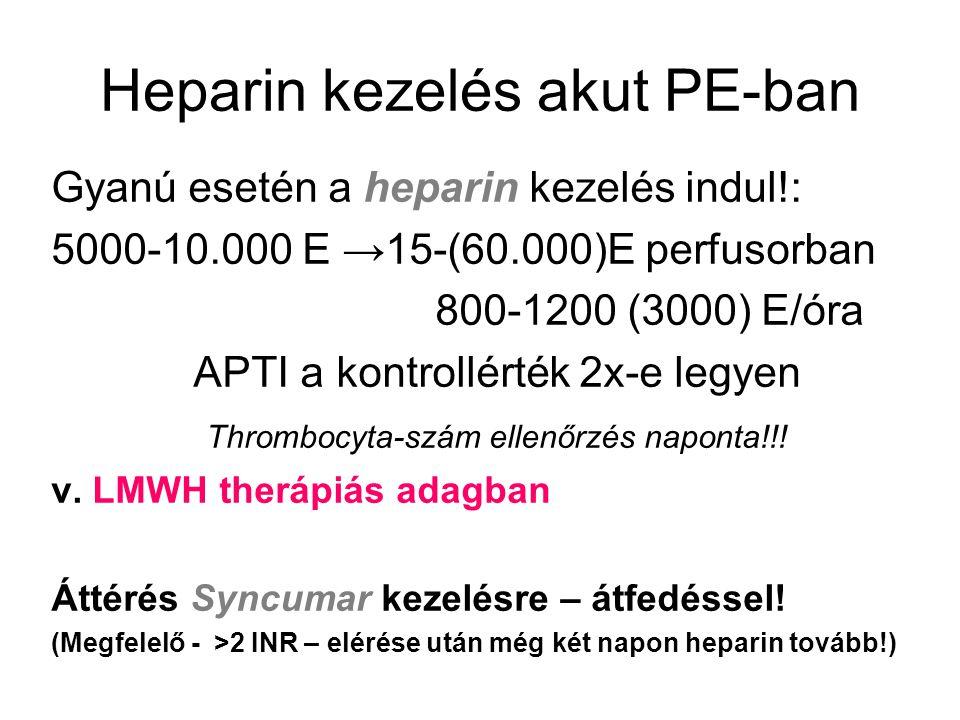 Heparin kezelés akut PE-ban