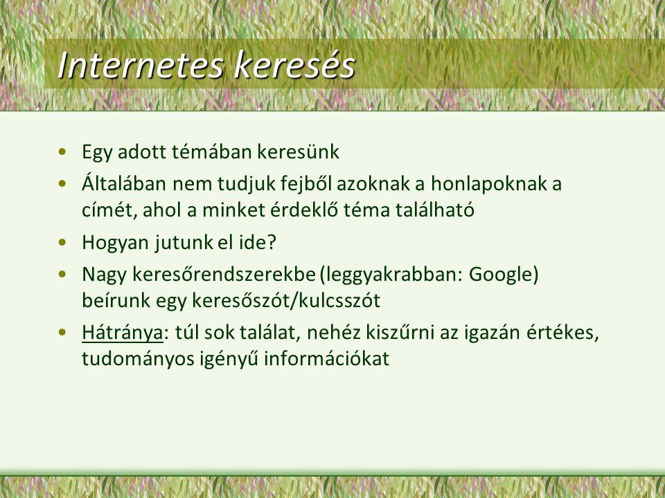 Internetes keresés Egy adott témában keresünk