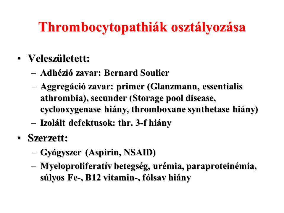 Thrombocytopathiák osztályozása