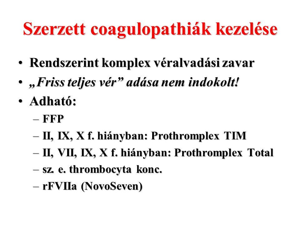 Szerzett coagulopathiák kezelése