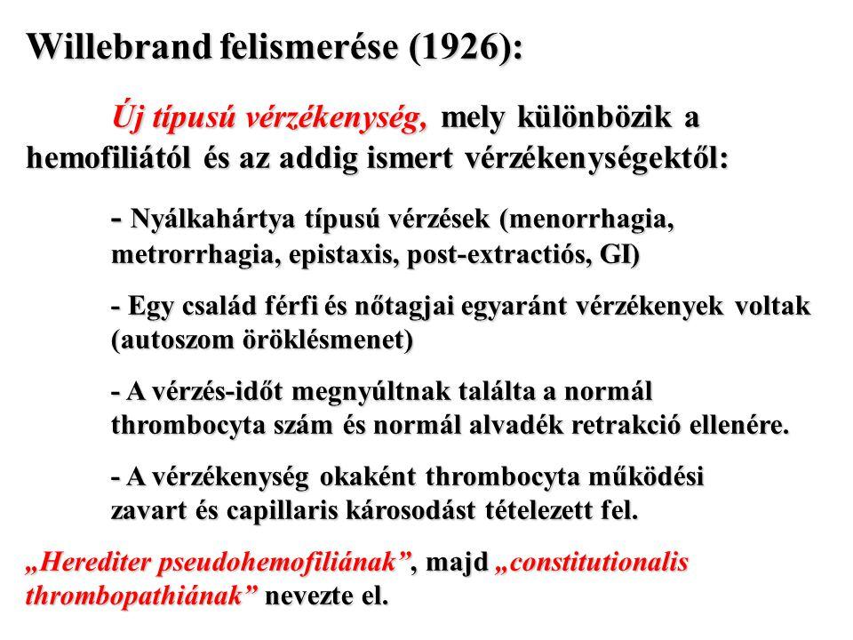 Willebrand felismerése (1926):