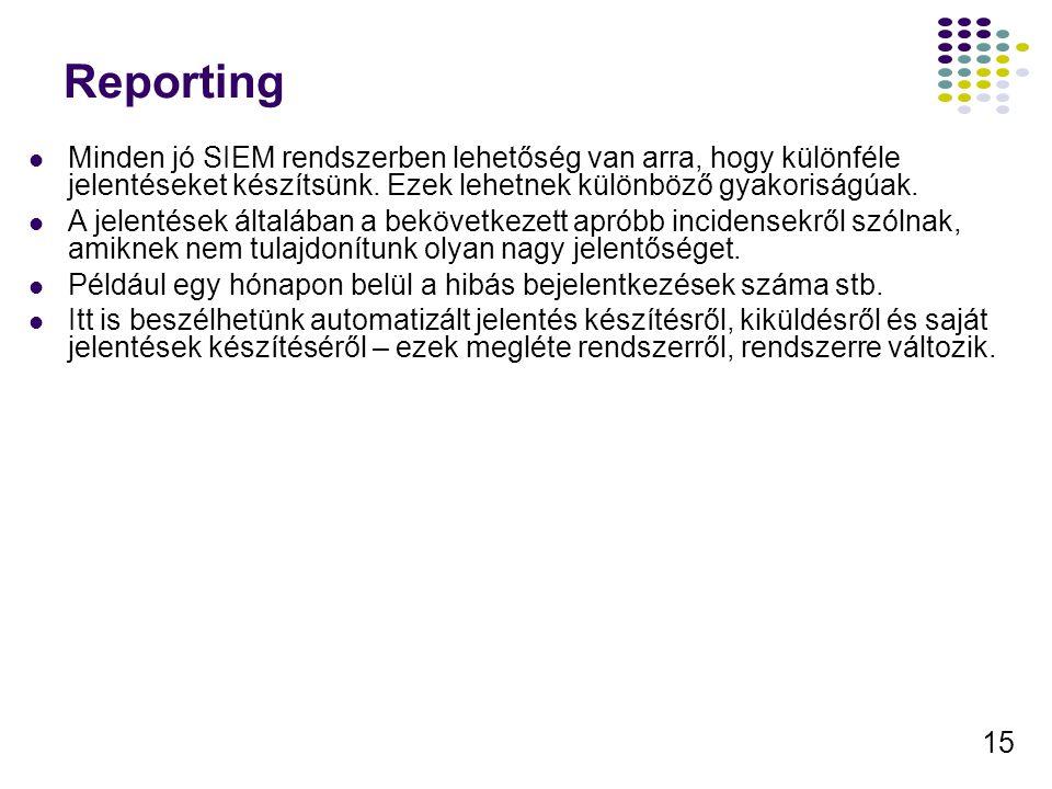 Reporting Minden jó SIEM rendszerben lehetőség van arra, hogy különféle jelentéseket készítsünk. Ezek lehetnek különböző gyakoriságúak.