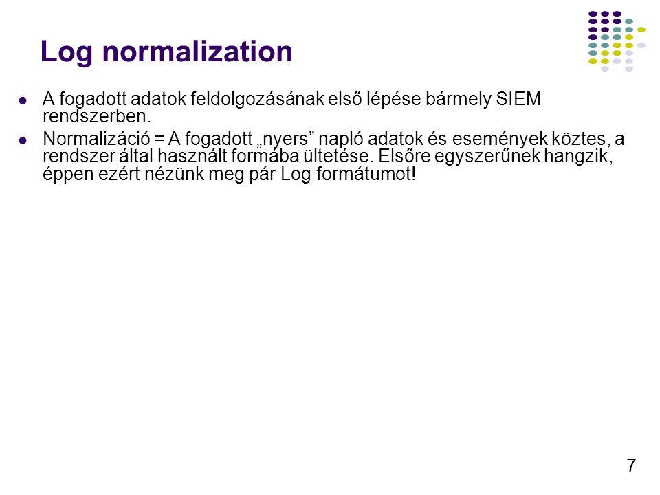 Log normalization A fogadott adatok feldolgozásának első lépése bármely SIEM rendszerben.
