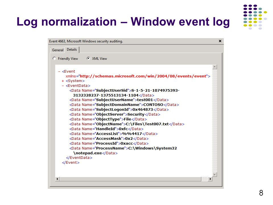 Log normalization – Window event log