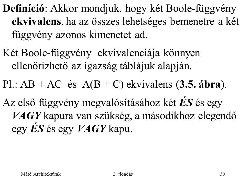 Pl.: AB + AC és A(B + C) ekvivalens (3.5. ábra).