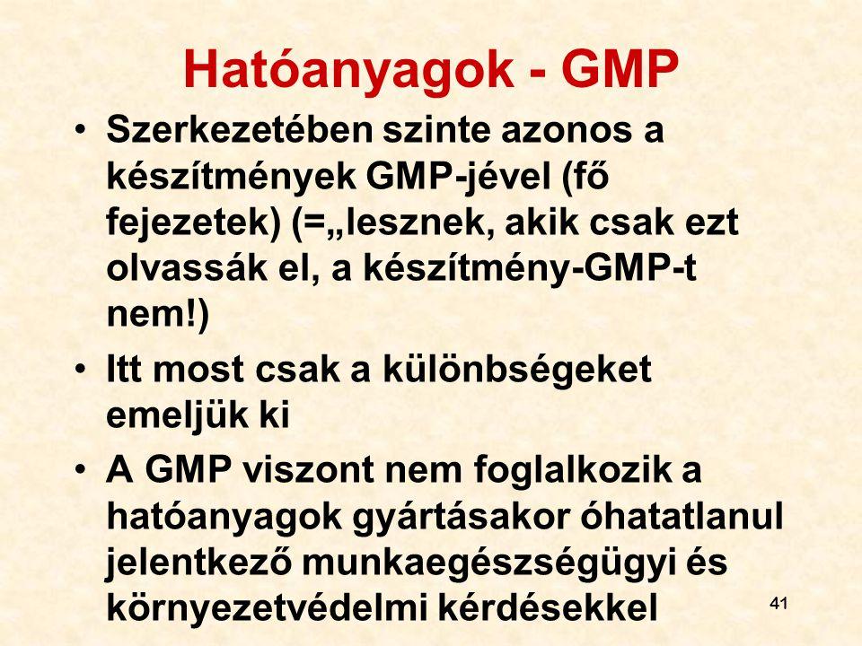"""Hatóanyagok - GMP Szerkezetében szinte azonos a készítmények GMP-jével (fő fejezetek) (=""""lesznek, akik csak ezt olvassák el, a készítmény-GMP-t nem!)"""