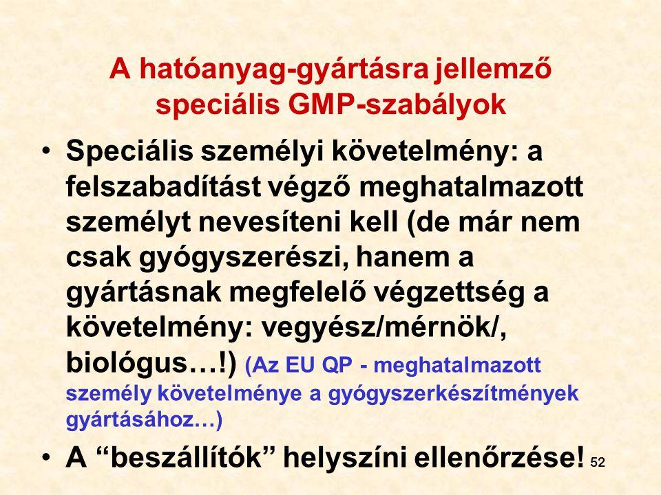 A hatóanyag-gyártásra jellemző speciális GMP-szabályok