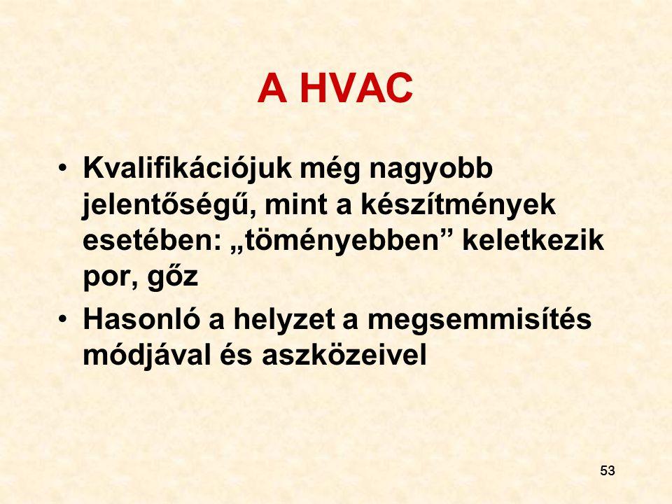 """A HVAC Kvalifikációjuk még nagyobb jelentőségű, mint a készítmények esetében: """"töményebben keletkezik por, gőz."""