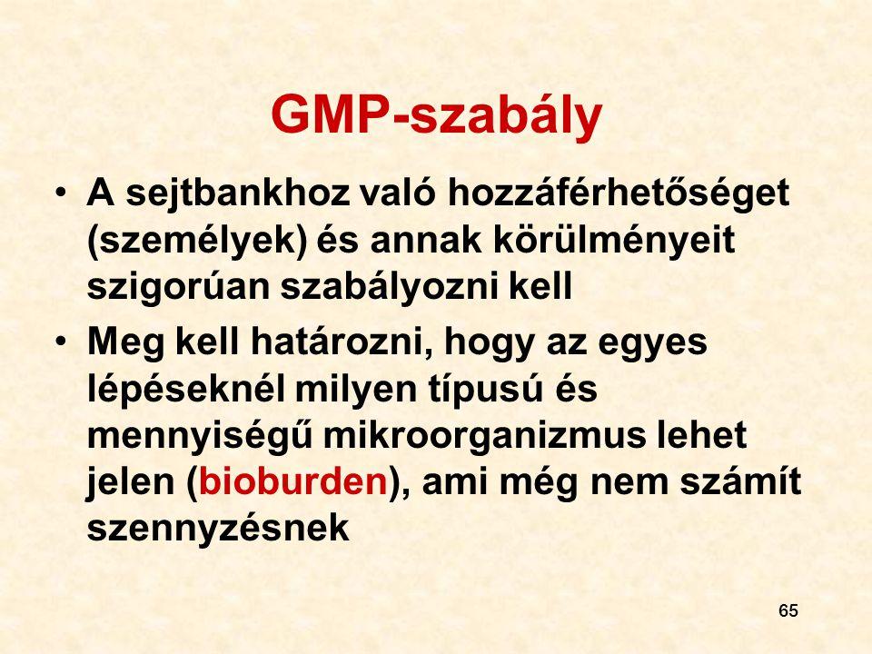 GMP-szabály A sejtbankhoz való hozzáférhetőséget (személyek) és annak körülményeit szigorúan szabályozni kell.