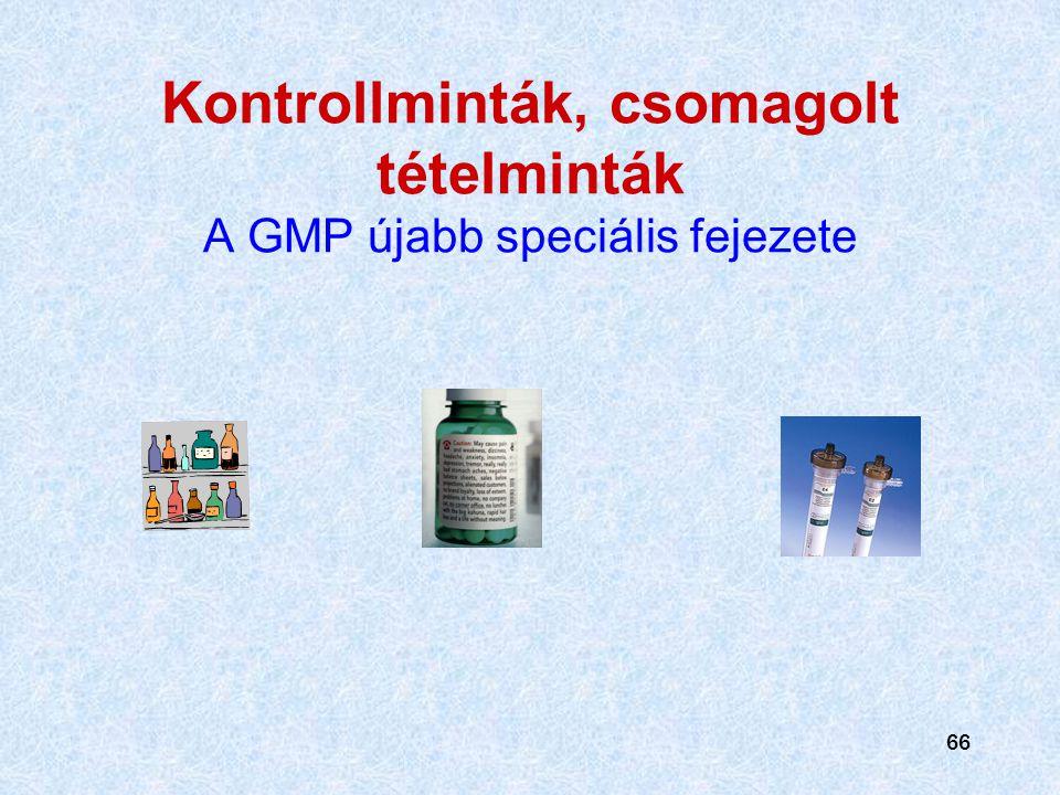 Kontrollminták, csomagolt tételminták A GMP újabb speciális fejezete