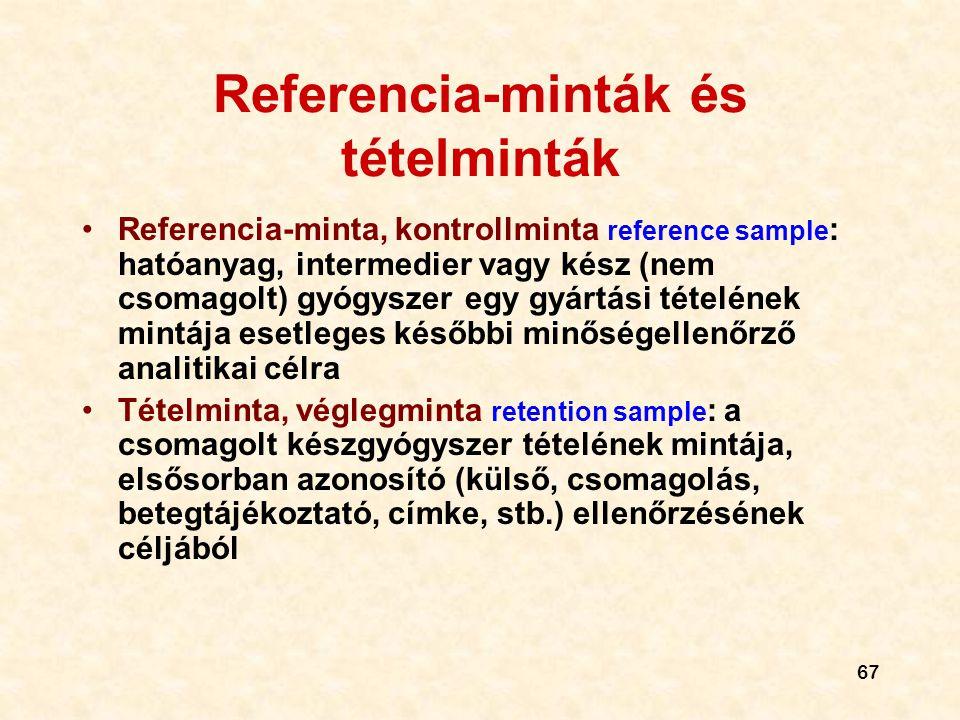 Referencia-minták és tételminták