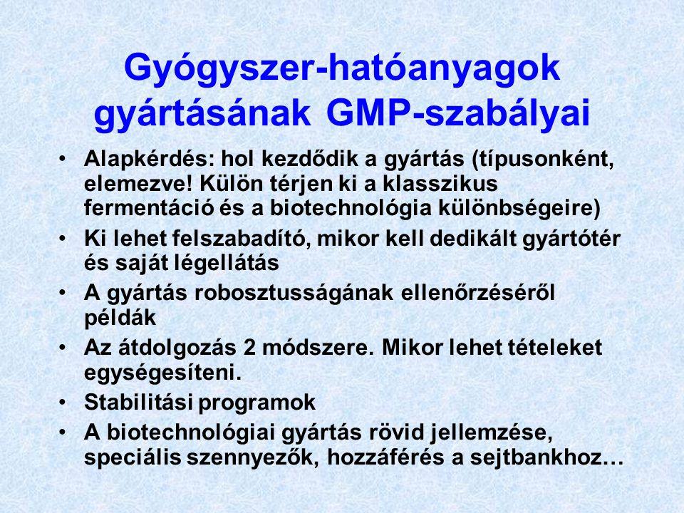 Gyógyszer-hatóanyagok gyártásának GMP-szabályai