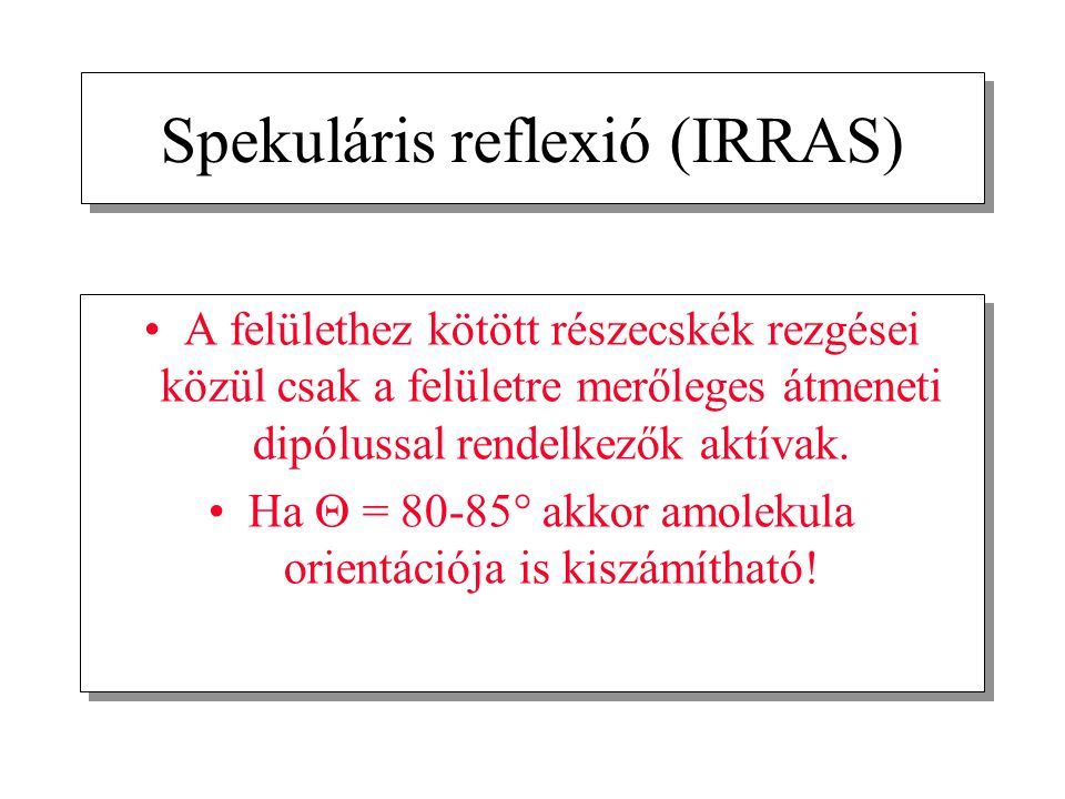 Spekuláris reflexió (IRRAS)