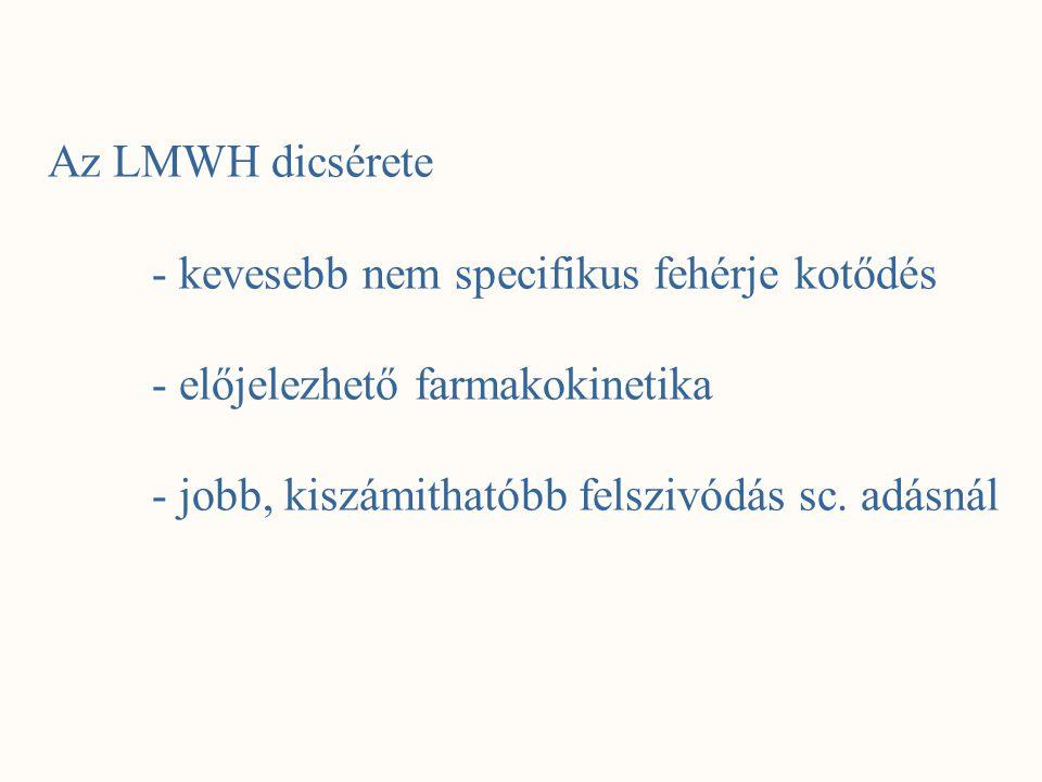 Az LMWH dicsérete - kevesebb nem specifikus fehérje kotődés.