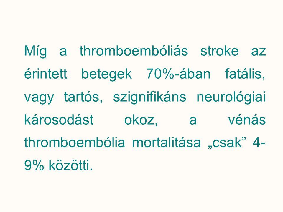 """Míg a thromboembóliás stroke az érintett betegek 70%-ában fatális, vagy tartós, szignifikáns neurológiai károsodást okoz, a vénás thromboembólia mortalitása """"csak 4-9% közötti."""