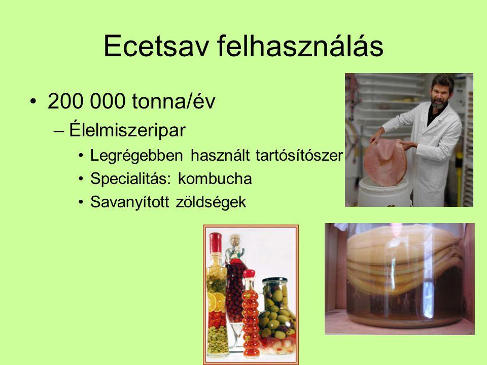 Ecetsav felhasználás 200 000 tonna/év Élelmiszeripar