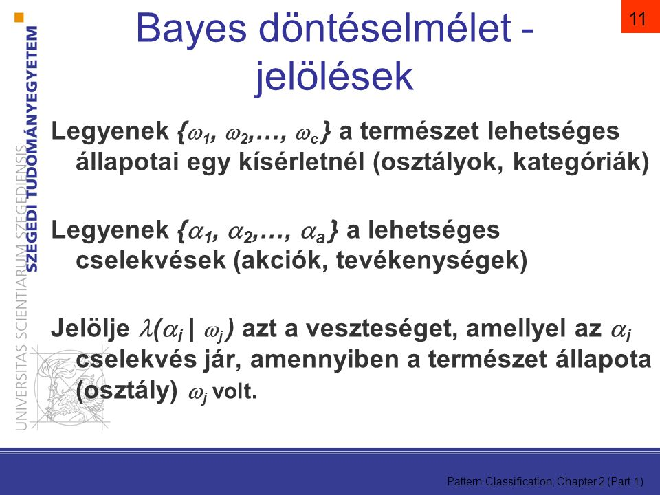Bayes döntéselmélet - jelölések