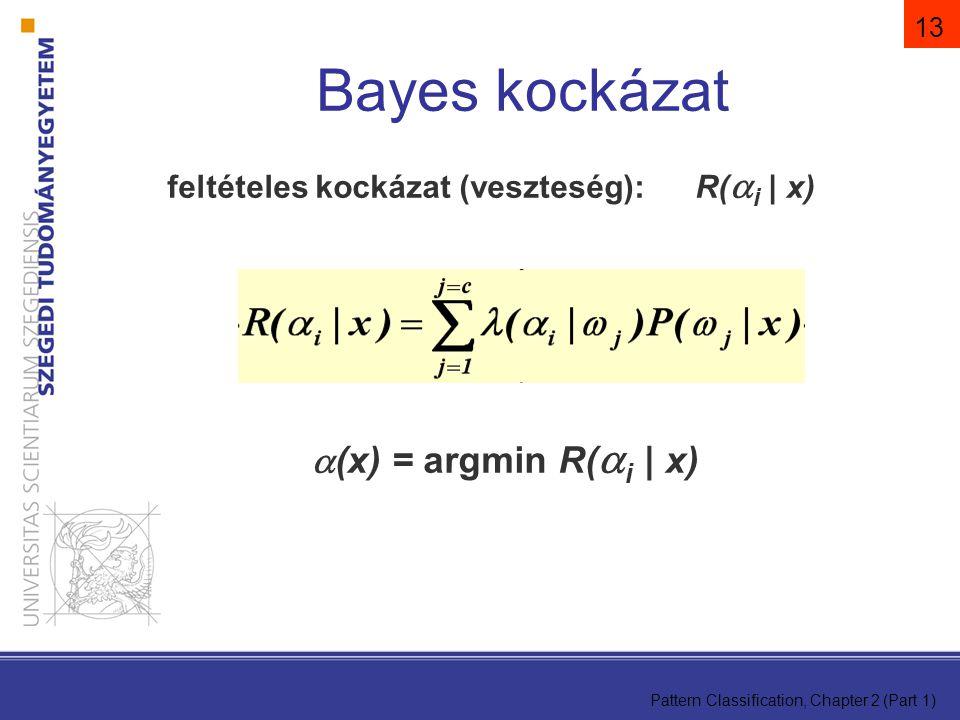 Bayes kockázat (x) = argmin R(i | x)