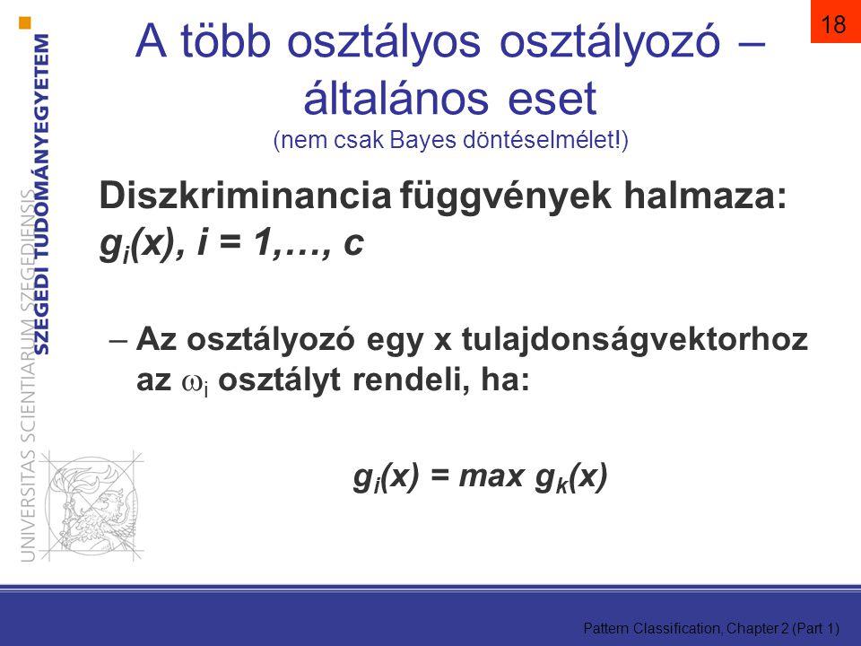A több osztályos osztályozó – általános eset (nem csak Bayes döntéselmélet!)