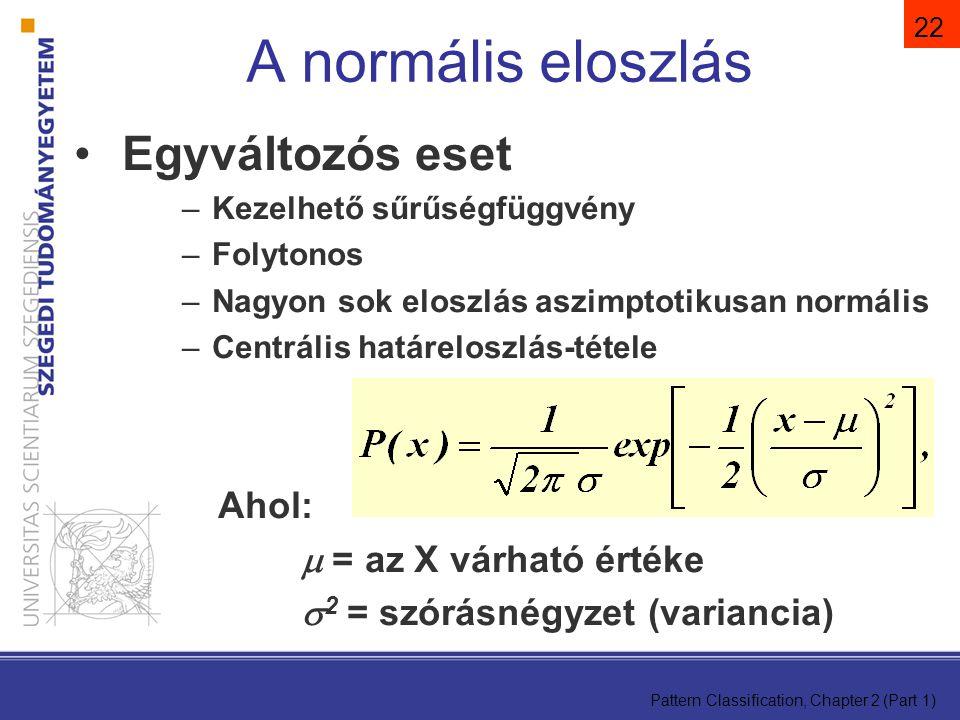 A normális eloszlás Egyváltozós eset Ahol:  = az X várható értéke
