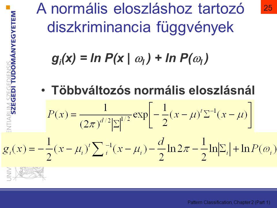 A normális eloszláshoz tartozó diszkriminancia függvények