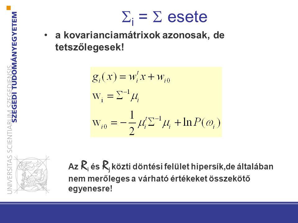 i =  esete a kovarianciamátrixok azonosak, de tetszőlegesek!
