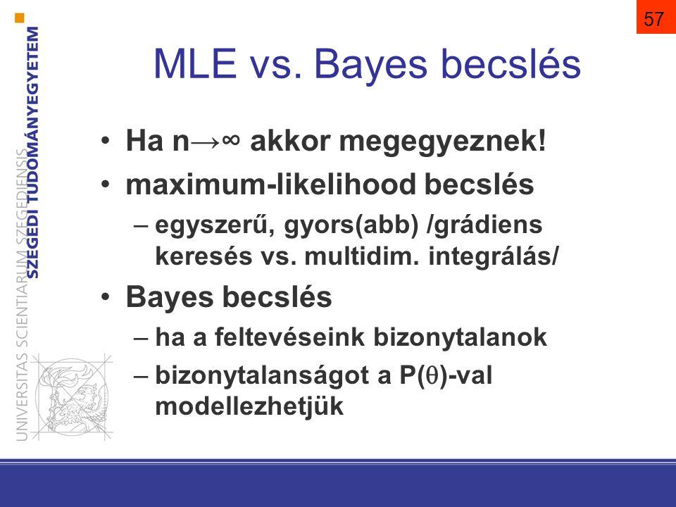 MLE vs. Bayes becslés Ha n→∞ akkor megegyeznek!