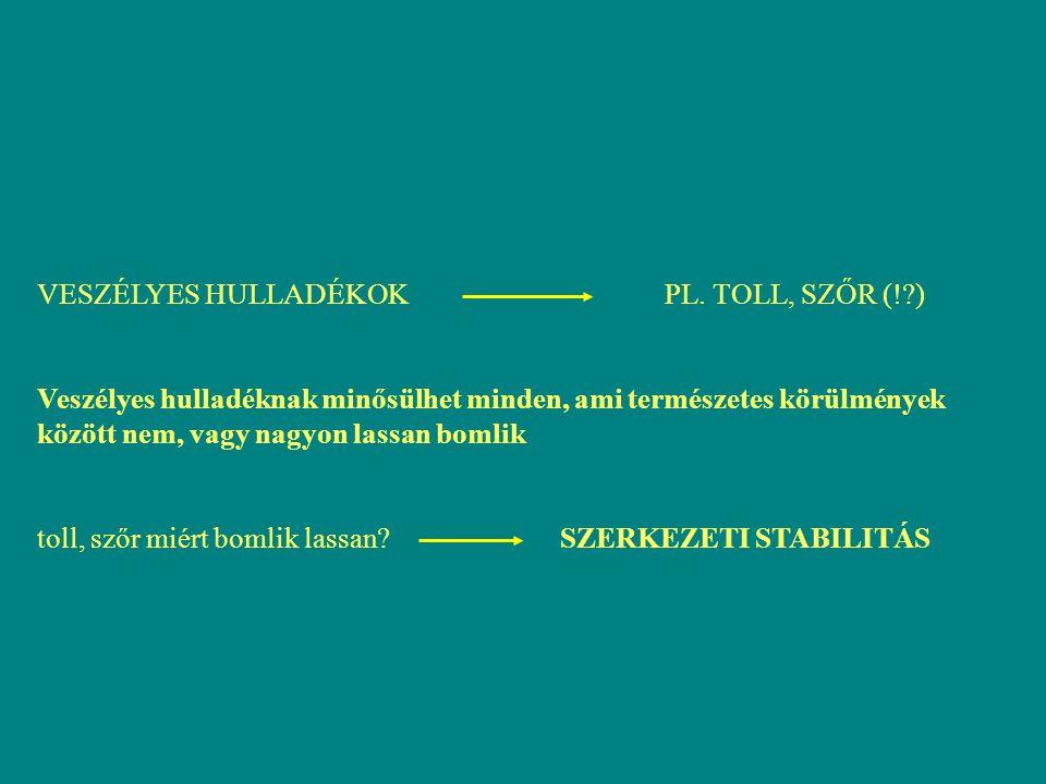 VESZÉLYES HULLADÉKOK PL. TOLL, SZŐR (! )
