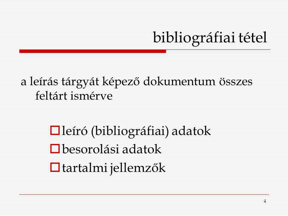 bibliográfiai tétel leíró (bibliográfiai) adatok besorolási adatok