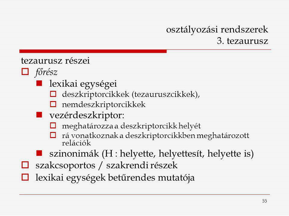 osztályozási rendszerek 3. tezaurusz