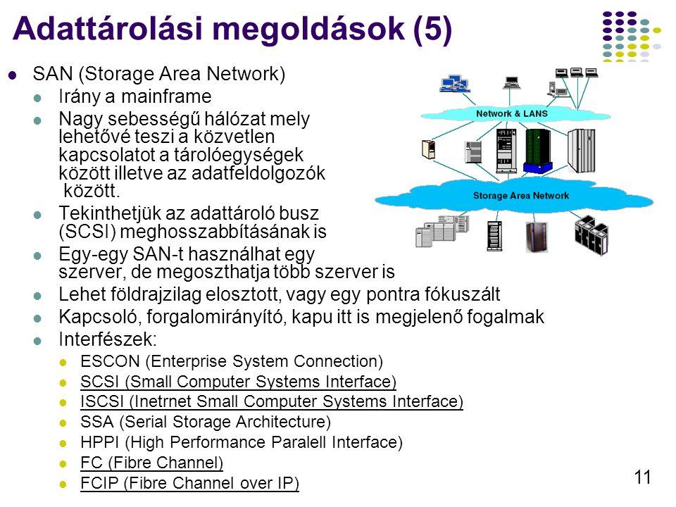 Adattárolási megoldások (5)