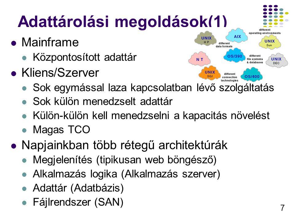 Adattárolási megoldások(1)